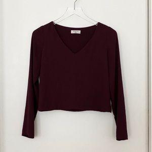 Babaton Murphy long sleeve crop top blouse berry